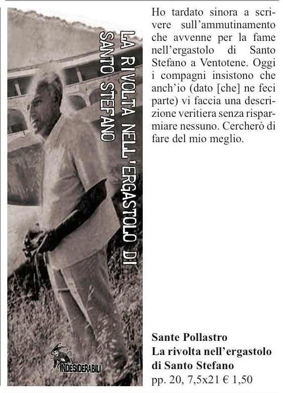 La rivolta nell'ergastolo di Santo Stefano. Sante Pollastro.